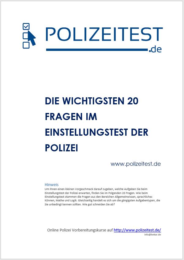 Einstellungstest Polizei Pdf Mit Den 20 Wichtigsten Fragen Polizeitest